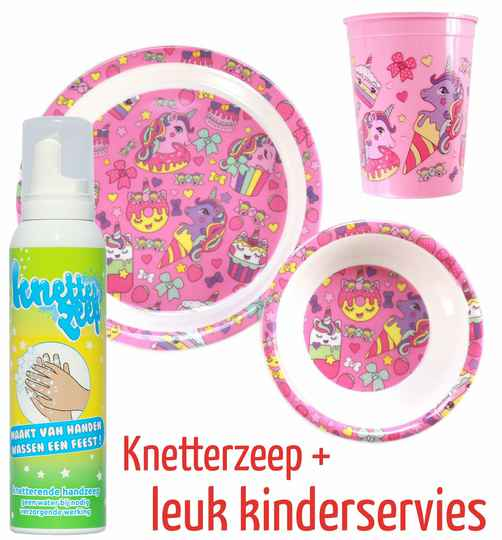 Knetterzeep + kinderservies | Unicorn