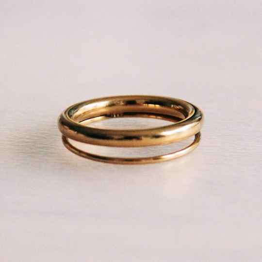 Stainless steel double ring - gold