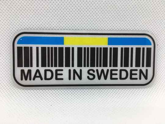 Sticker Made in Sweden, met barcode