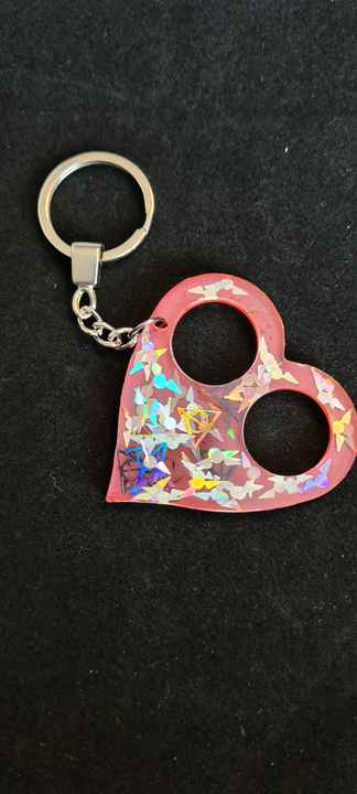 Heart Keychain Gryffindor Snitch & Deadly Hallows Holographic