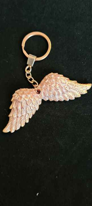 Angel Wings Keychain Gold Shimmer