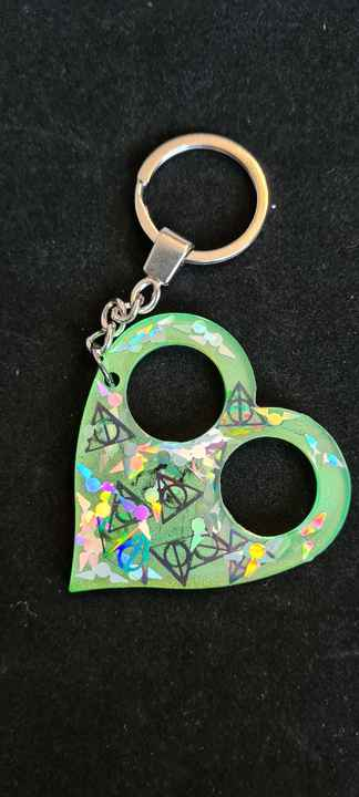 Heart Keychain Slytherin Snitch & Deadly Hallows Holographic