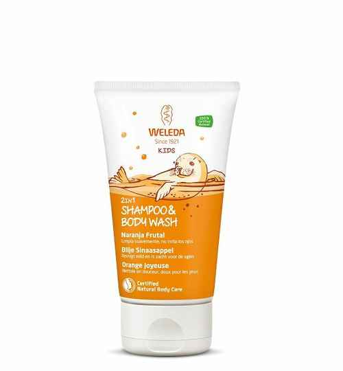 Weleda Kids 2 in 1 shampoo & body wash blije sinaasappel 150 ml