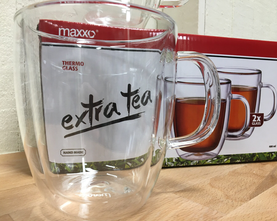 Maxxo Extra tea 480ml, Thermo glas, set van 2