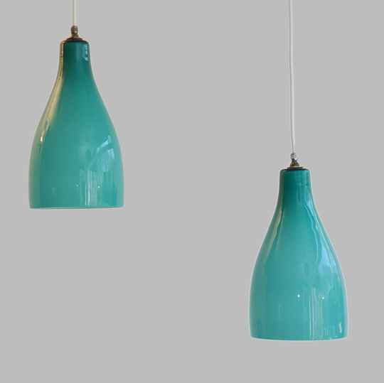 Venini cased glass hanging lamps