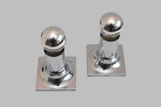 pair of chrome architectural flush mounts by Rolf Krueger for Staff Leuchten