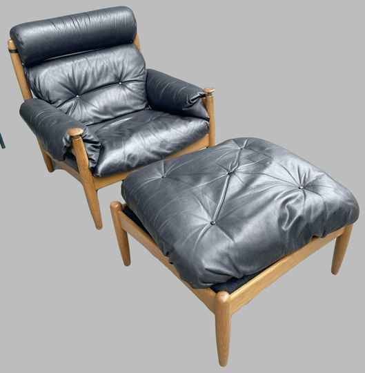 seventies leather easy chair with ottoman