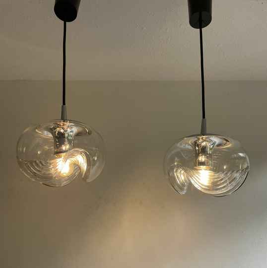 pair of Peill and Putzler Wave hanging lamps