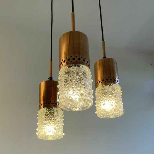 1970ies lamp perforated copper and glass