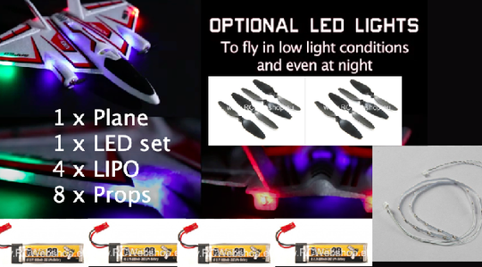 EFLITE Horizon Hobby UMX Ultrix BNF Basic + LED + 4 x LIPO + 8 x Prop ****