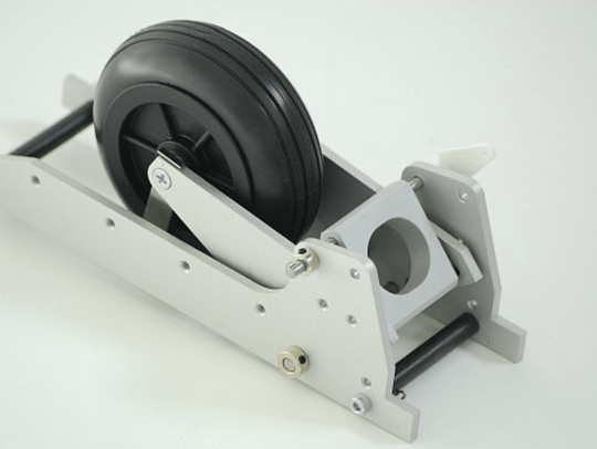 Parts Retracts landinggear nosewheel (FEMA) for gliders 3-7kg, assembled with Rubber Wheel 70mm - # 9833A **