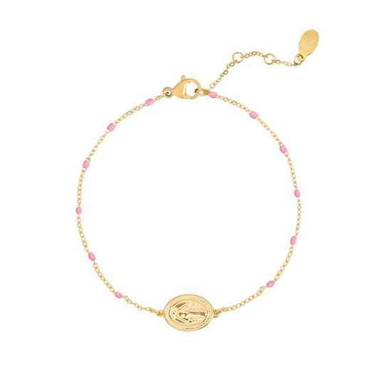 Armband holy coin licht roze