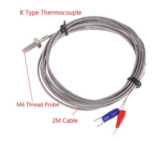 Thread M6 Screw Probe Temperature Sensor Thermocouple K Type Cable 2M 0-600C