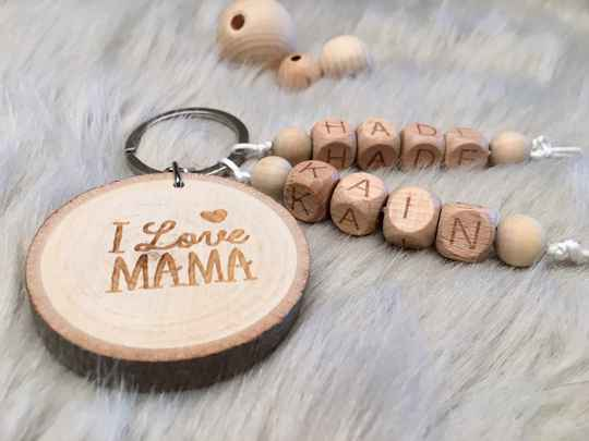Luxe sleutelhanger hout mama