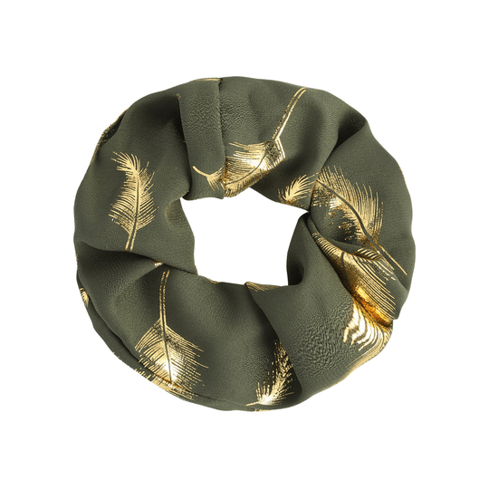 Scrunchie Golden Feather Groen