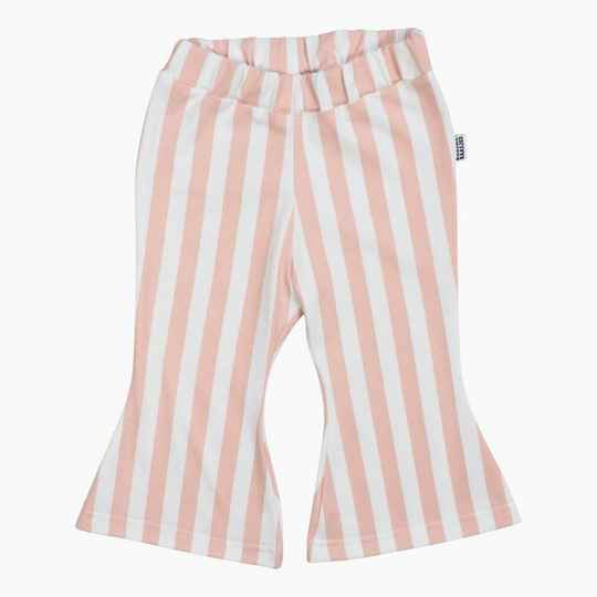 FLARED PANTS VERTICAL PINK & CREAM