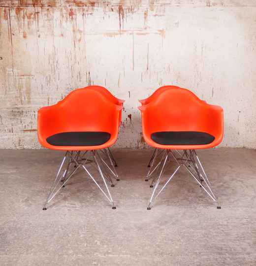 Eames DAR chairs poppy red by Vitra