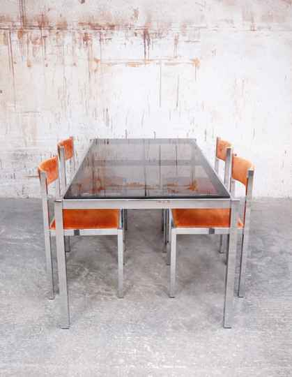 Chrome and glass dining set with 4 chairs