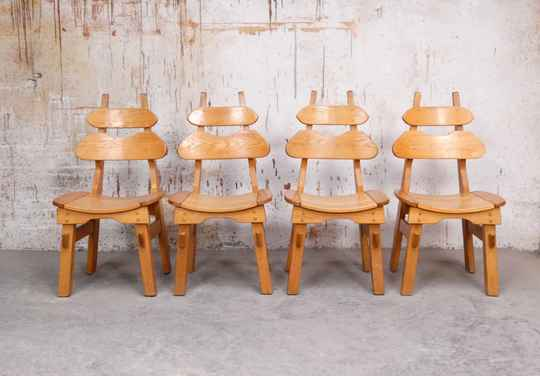 Solid oak brutalist dining chairs