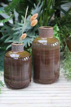 Vase Ceramic Brown - 2 maten