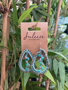 Juleeze Earings Gold with Blue Rope