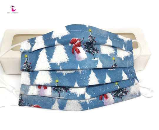 Christmas face mask blue with trees KM03