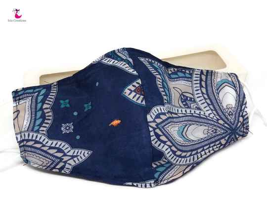 Face mask blue paisley with silk MKZ01