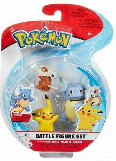 Pokemon Battle Figure Pack - Wartortle, Pikachu, Cubone