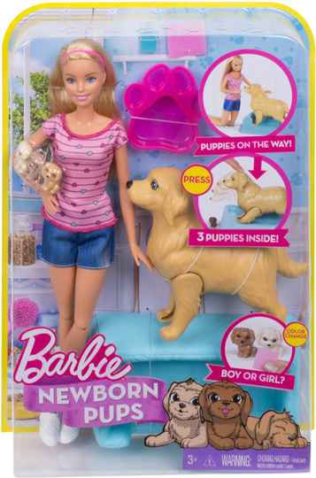 Barbie Pasgeboren puppy's Speelset - Barbiepop