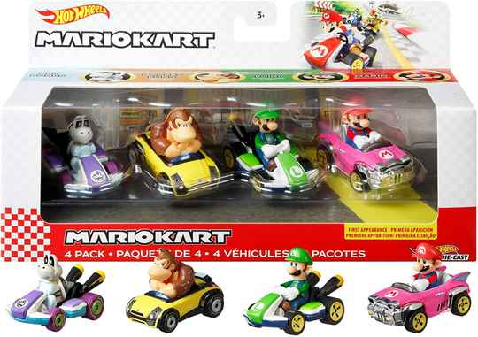 Hot Wheels Mario Kart Diecast auto's 4-pack