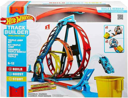 Hot Wheels Track Builder Driedubbele loopingset