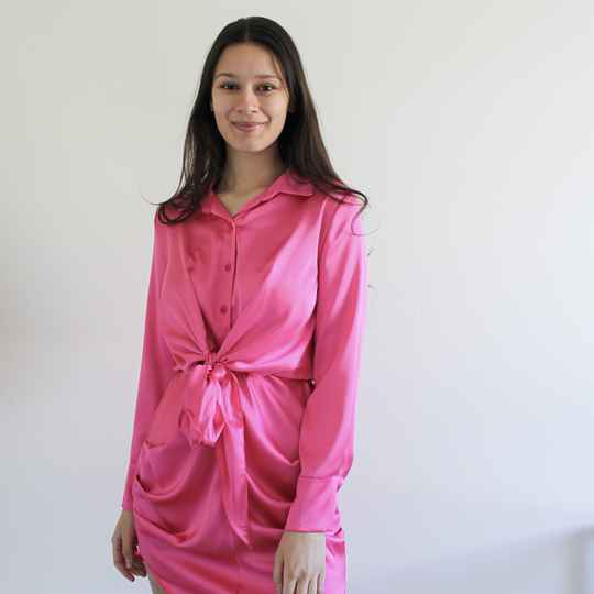 MILA SATIN DRESS - PINK