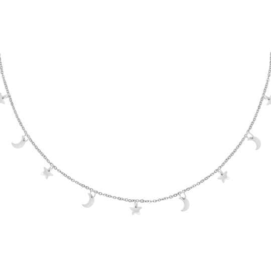 NECKLACE STAR AND MOON - SILVER