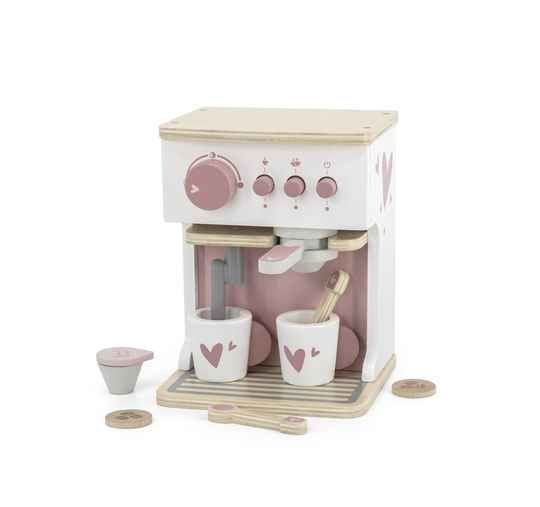 Label Label houten espresso machine roze