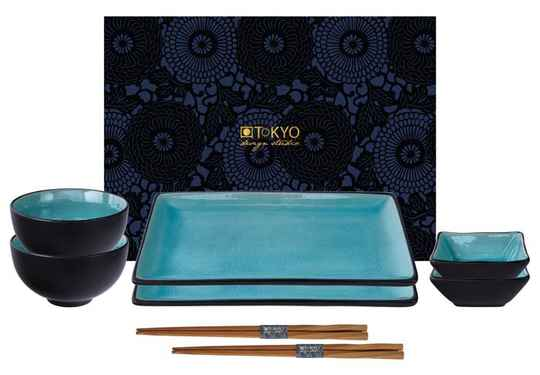 Tokyo Design Studio Glassy Turquoise Sushi Servies - 8 delig - 2 persoons, 8154