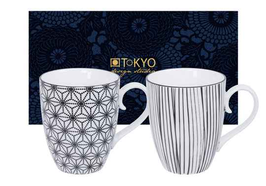 Tokyo Design Studio Nippon Black Set van 2 Mokken 380 ml. In fraaie Geschenkdoos (Stars & Stripes) 15686