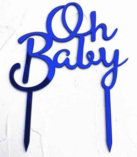 Topper acryl Oh Baby blauw