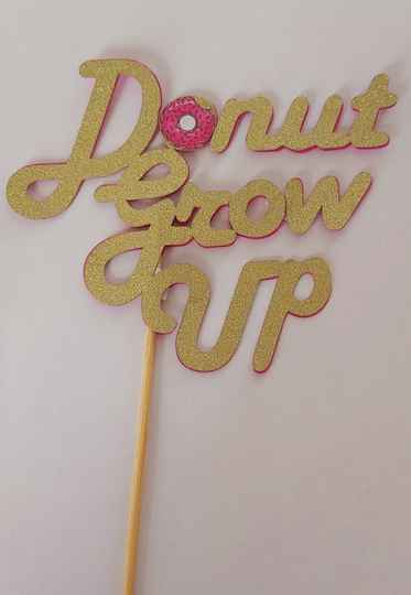 Topper 15 cm breed Donut Grow Up glitter goud karton cameo