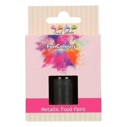 Funcakes Funcolours Metallic foodpaint zwart 30 ml
