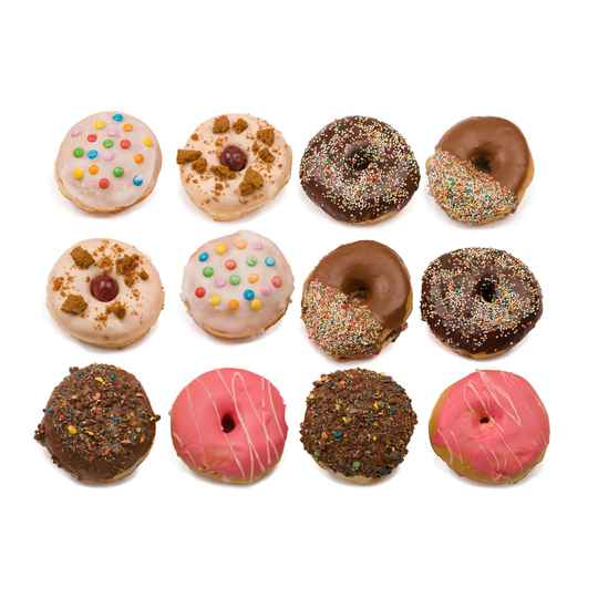 Donuts box met 12 gevulde donuts, jam,pudding, nutella, cheesecake