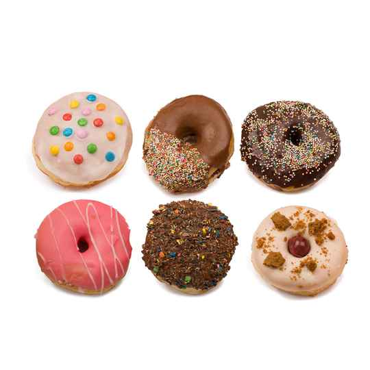 Donuts box met 6 gevulde donuts, jam,pudding, nutella, cheesecake
