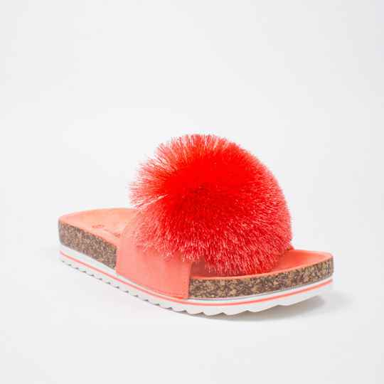 pompon slippers coral