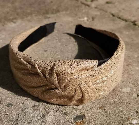 """Haarband """"Gold sparks in beige"""""""