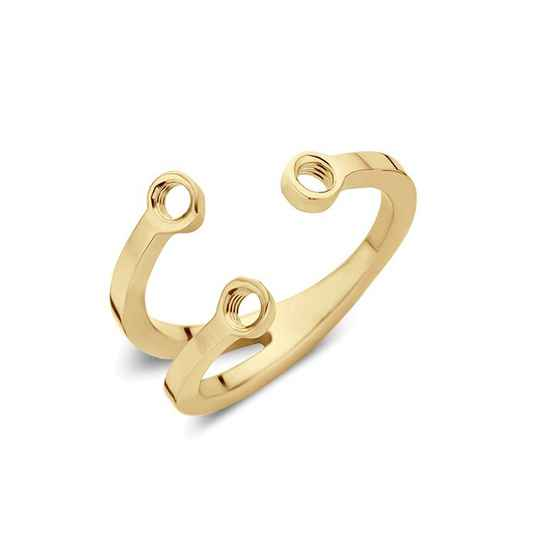 Melano twisted trio stone ring goud