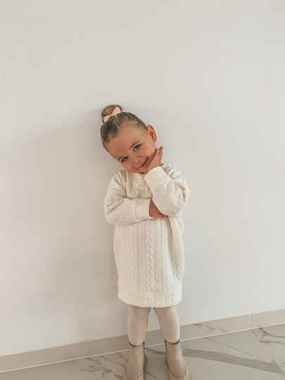 Matching Sweaterdress meisjes Cable off-white