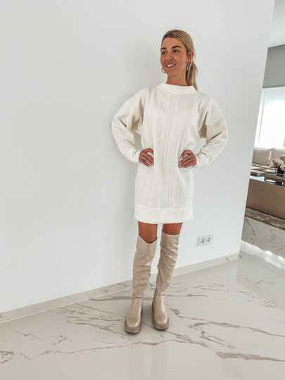 Matching Sweaterdress dames Cable off-white
