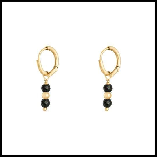 Earrings Black Stone
