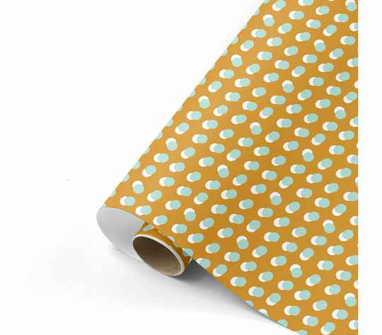 Cadeaupapier breed - Dots oker/mint