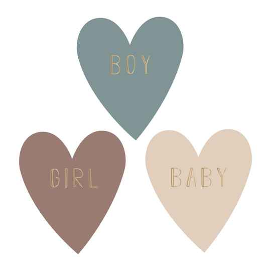 Sticker - Baby,boy,girl hartjes