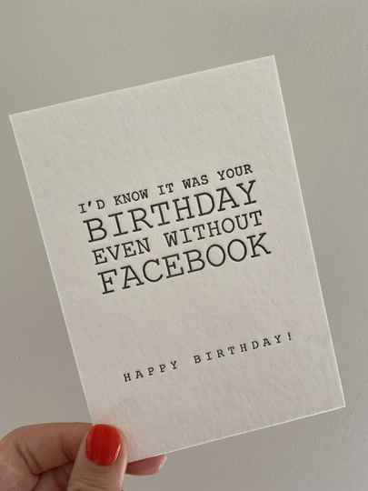 Kaartje happy birthday even without Facebook
